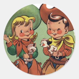 Pegatinas retros de la diversión del vaquero de la pegatina redonda