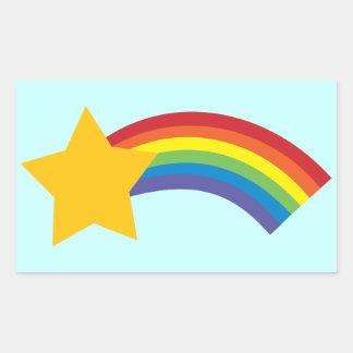 pegatinas retros de la estrella fugaz del arco pegatina rectangular