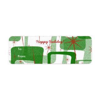 Pegatinas retros de la etiqueta del regalo del nav etiquetas de remite