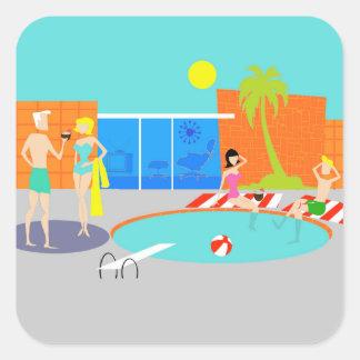 Pegatinas retros de la fiesta en la piscina pegatina cuadrada