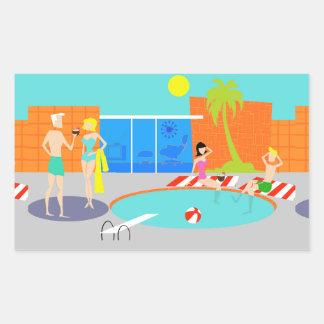 Pegatinas retros de la fiesta en la piscina pegatina rectangular