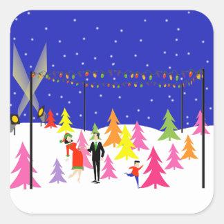 Pegatinas retros de la granja de árbol de navidad pegatina cuadrada