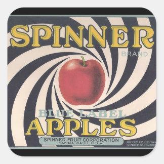 Pegatinas retros de la marca de la manzana del calcomania cuadradas personalizadas