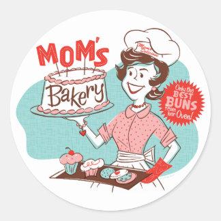 Pegatinas retros de la panadería de la mamá - pegatina redonda