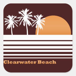Pegatinas retros de la playa de Clearwater Calcomanía Cuadradas Personalizadas