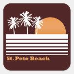 Pegatinas retros de la playa del St Pete Calcomanía Cuadradas Personalizadas