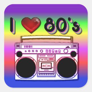 Pegatinas retros de los años 80 de los años 80 de pegatina cuadrada