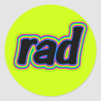 """Pegatinas retros de los años 80 de SKO """"RAD"""" Etiquetas Redondas"""