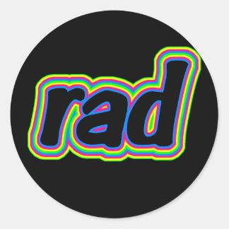 """Pegatinas retros de los años 80 de SKO """"RAD"""" Etiqueta Redonda"""