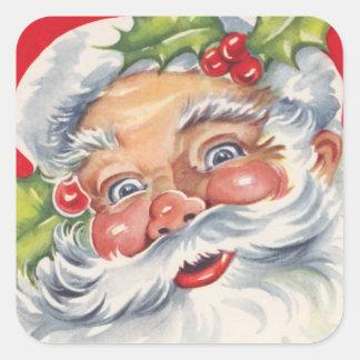 Pegatinas retros de Papá Noel del navidad de la Calcomanías Cuadradass