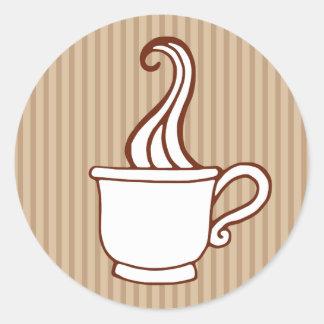 Pegatinas retros del café etiqueta redonda