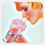 Pegatinas retros del Milkshake de los años 30 Pegatina Cuadrada