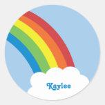 pegatinas retros del nombre del arco iris de los etiquetas redondas