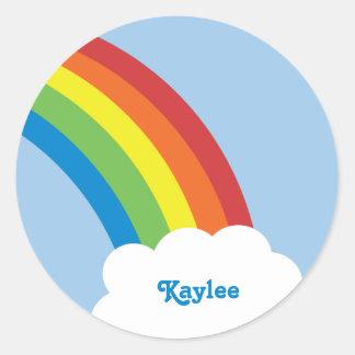 pegatinas retros del nombre del arco iris de los a etiquetas redondas