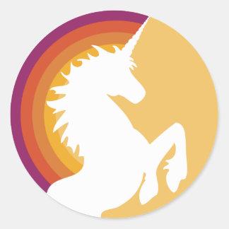 pegatinas retros del unicornio y del arco iris de etiquetas redondas