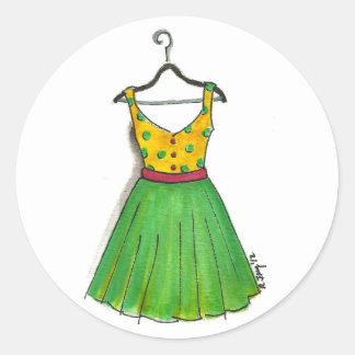 Pegatinas retros del vestido de la ropa del pegatina redonda