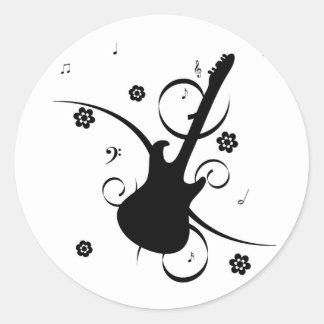 Pegatinas retros enrrollados de la guitarra de la pegatinas redondas