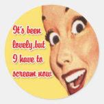 Pegatinas retros felices 4 del ama de casa pegatinas redondas