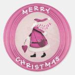 Pegatinas retros rosados caprichosos de Santa Pegatinas Redondas