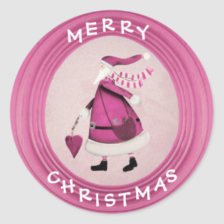 Pegatinas retros rosados caprichosos de Santa