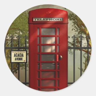 Pegatinas rojos británicos de la cabina de pegatina redonda