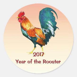 Pegatinas rojos chinos del gallo del Año Nuevo Pegatina Redonda