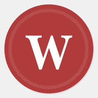 Pegatinas rojos cones monograma del sello del etiquetas redondas