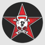 Pegatinas rojos de la estrella de los pescadores etiquetas redondas
