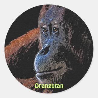 Pegatinas rojos de la fauna del primate del mono pegatina redonda