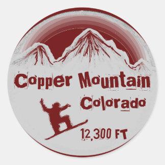 Pegatinas rojos de la snowboard de Colorado de la Pegatina Redonda