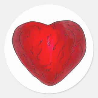 Pegatinas rojos de la tarjeta del día de San Pegatina Redonda