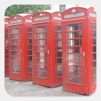 Pegatinas rojos de las cabinas de teléfono de pegatina cuadrada