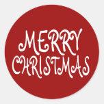 Pegatinas rojos de las Felices Navidad Pegatina Redonda