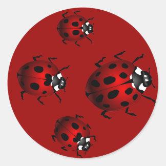 Pegatinas rojos de las mariquitas de los pegatinas