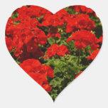 Pegatinas rojos de los geranios calcomanías corazones personalizadas