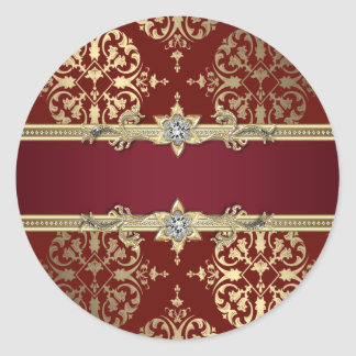 Pegatinas rojos de rubíes elegantes del damasco pegatina redonda
