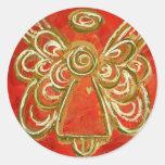 Pegatinas rojos del ángel pegatina redonda