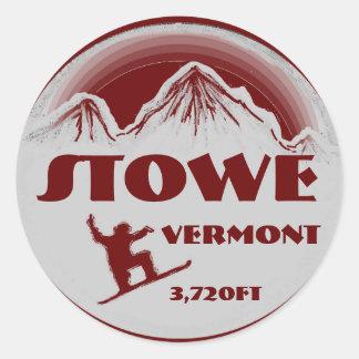 Pegatinas rojos del arte de la snowboard de Stowe Pegatina Redonda