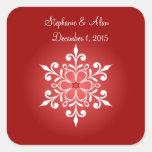 Pegatinas rojos del boda del copo de nieve grande calcomanía cuadrada personalizada