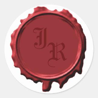 Pegatinas rojos del boda del sello del monograma