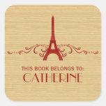 Pegatinas rojos del Bookplate del Flourish del Pegatinas Cuadradases Personalizadas