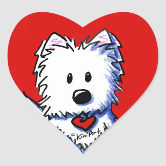 Pegatinas rojos del corazón de KiniArt Westie Calcomania Corazon