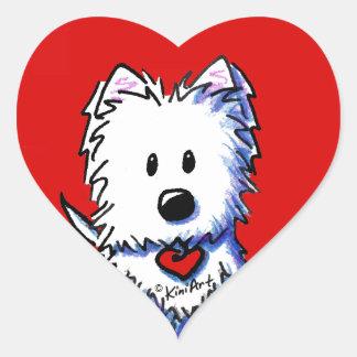 Pegatinas rojos del corazón de KiniArt Westie Pegatinas Corazon