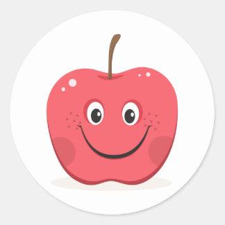 Pegatinas rojos del dibujo animado de la manzana