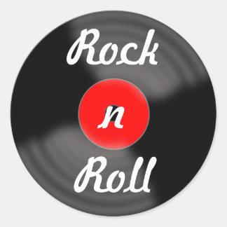 Pegatinas rojos del expediente del rock-and-roll pegatina redonda