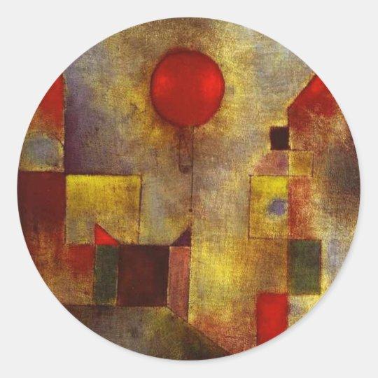 Pegatinas rojos del globo de Paul Klee Pegatina Redonda