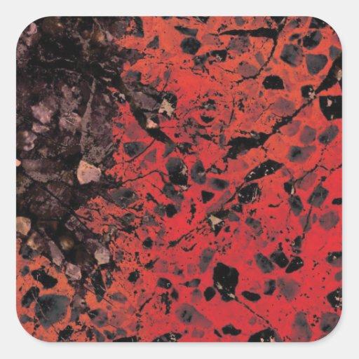 Pegatinas rojos del granito calcomania cuadradas personalizadas