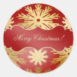 Pegatinas rojos del oro de los copos de nieve de etiquetas redondas