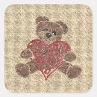 Pegatinas rojos del oso de peluche de la arpillera pegatinas cuadradas personalizadas