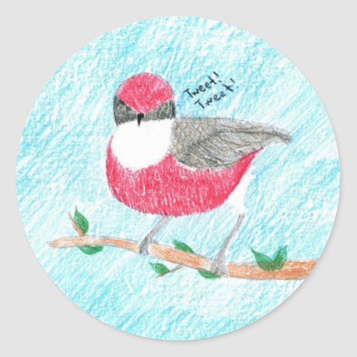 Pegatinas rojos del pájaro pegatina redonda